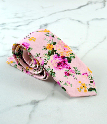 Baby Pink Floral Neck Tie - The Dapper Man