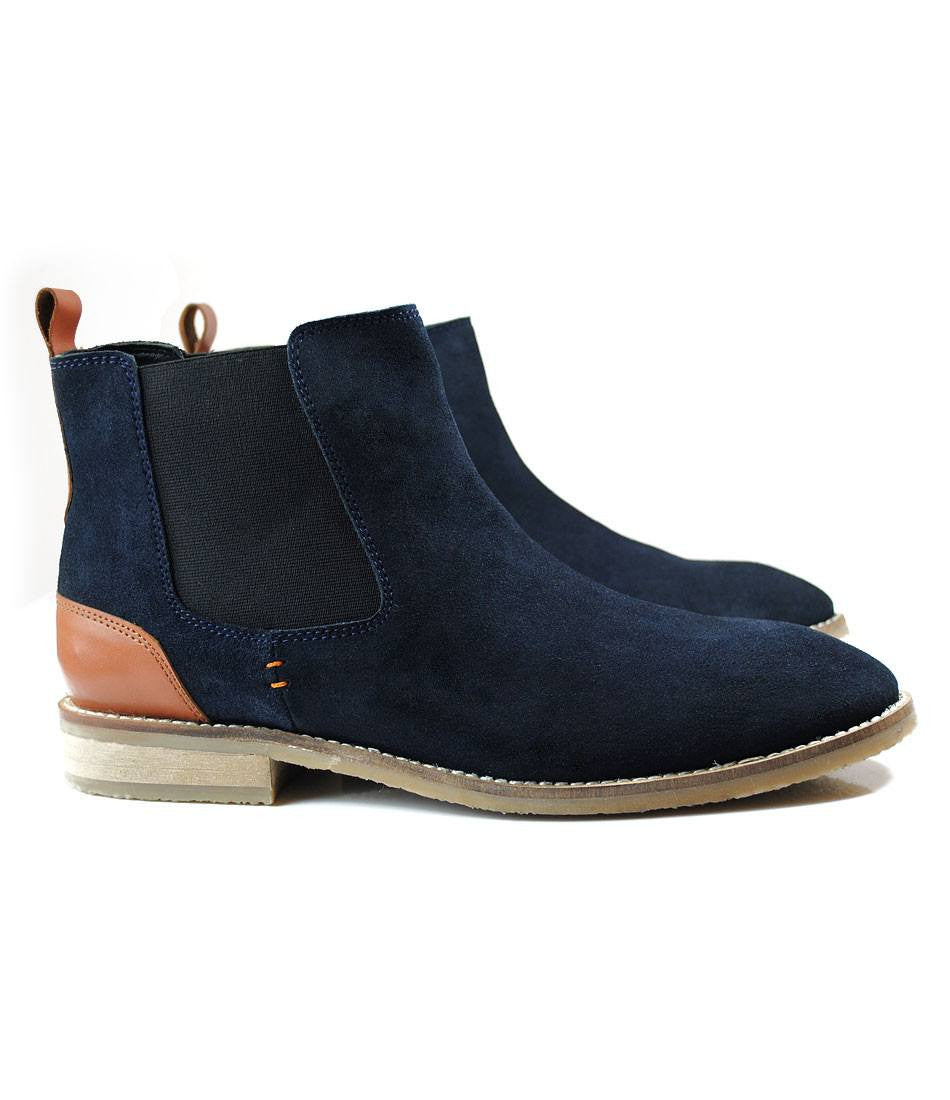 Navy Suede Chelsea Boot - The Dapper Man
