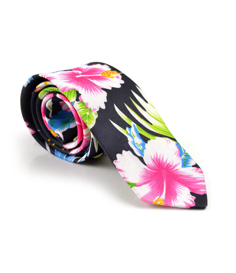 Deep Navy Floral Neck Tie - The Dapper Man
