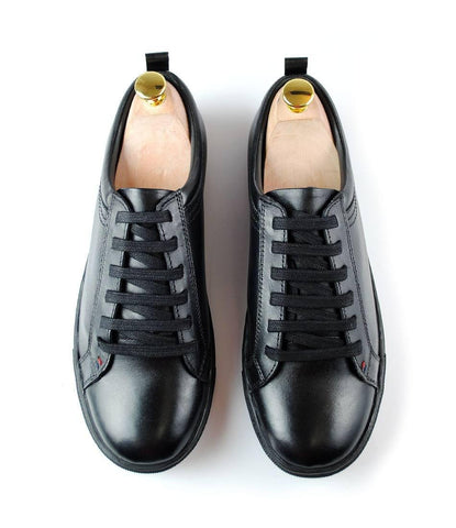 All Black Leather Low-top Sneakers  Apps   Save