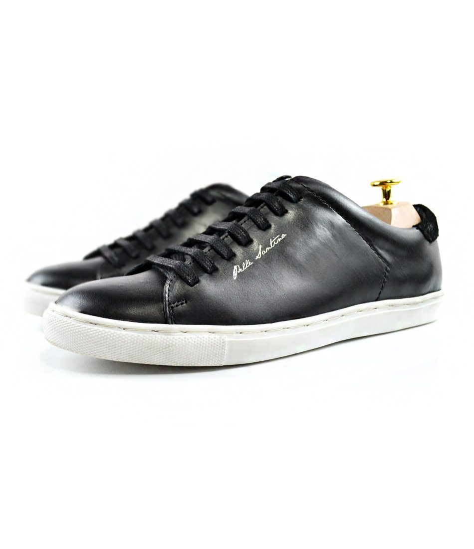 Black Leather Low-top Sneakers with White Sole - The Dapper Man