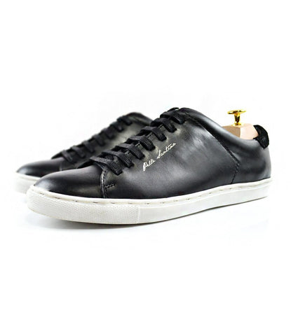 pELLE saNTINO - Black Leather Low-top Sneakers with White Sole