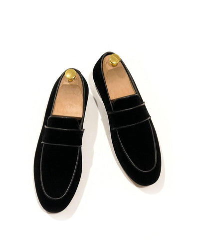 Apron Toe Albert Velvet Slippers - Black - The Dapper Man