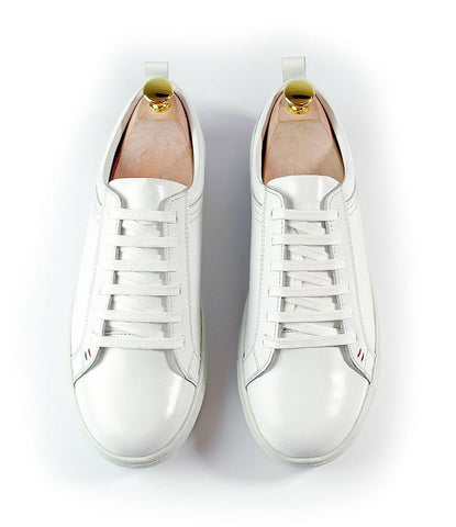 All White Leather Low-top Sneakers