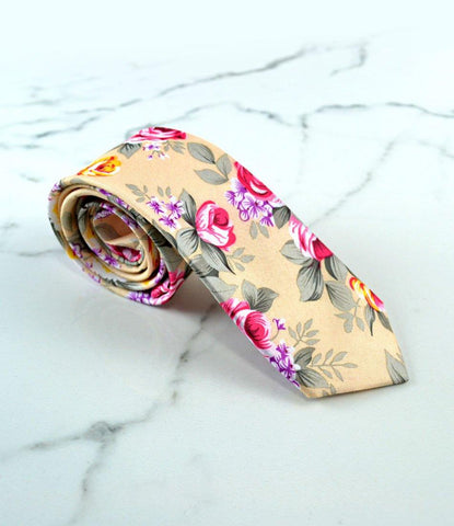 the dapper man - Spring Dust Beige Floral Neck Tie