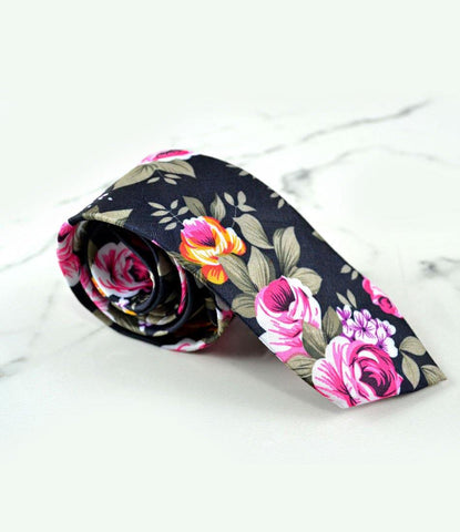 the dapper man - Deep Grey Floral Neck Tie