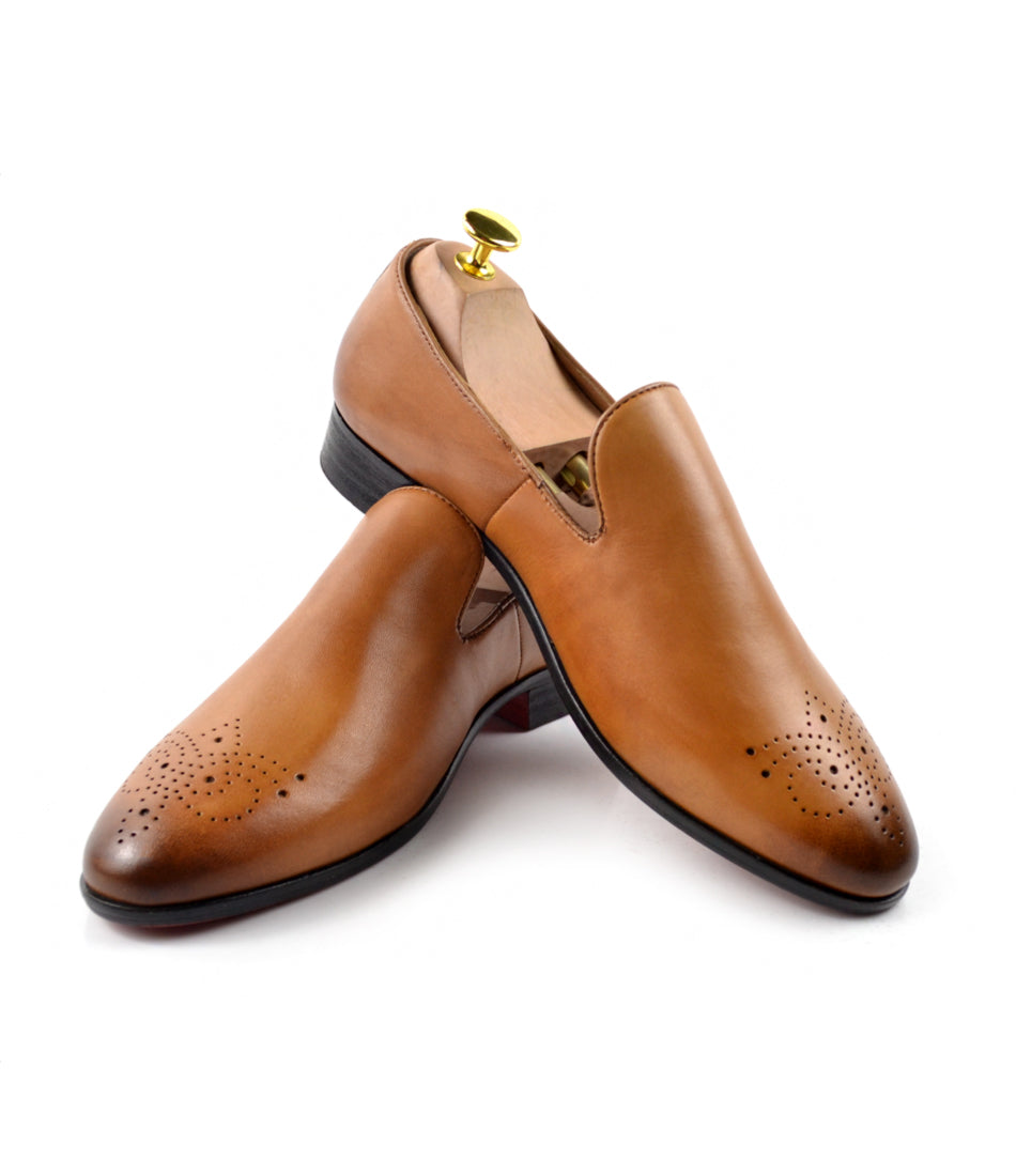 Leather Medallion Toe Loafers - Tan - The Dapper Man