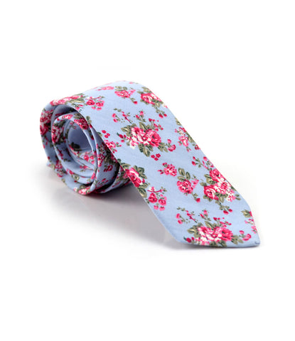 New York Blue Floral Neck Tie - The Dapper Man