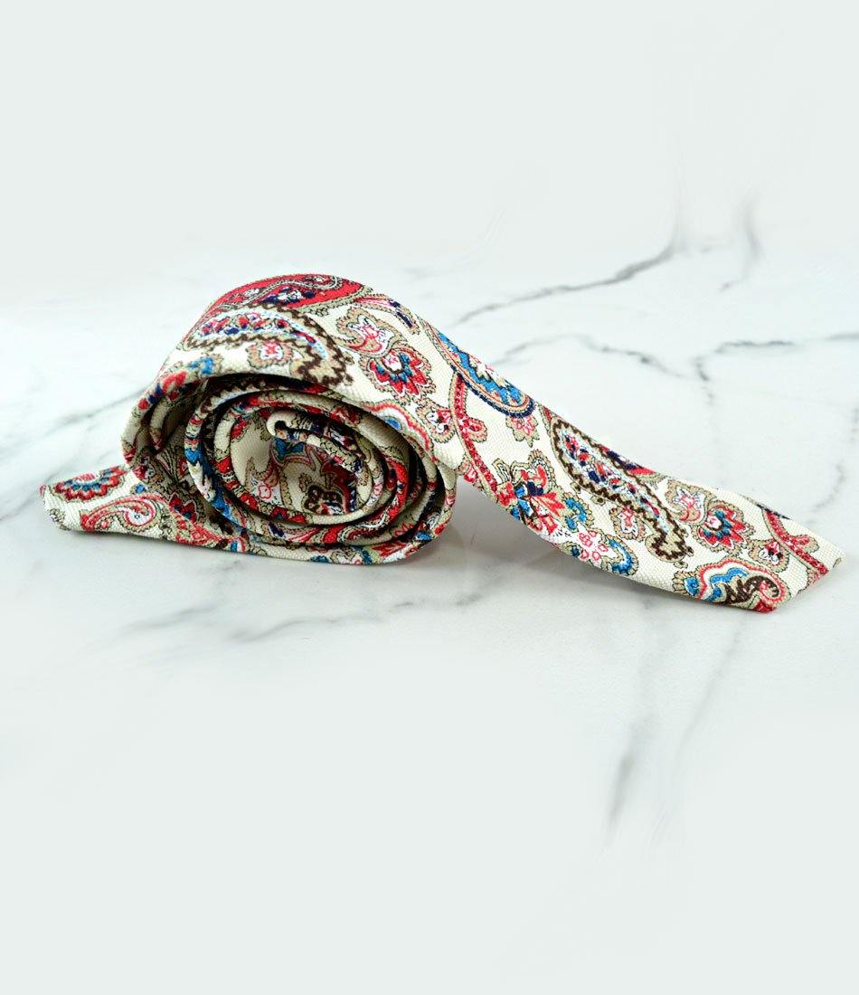 Cream & Red Paisley Pattern Neck Tie - The Dapper Man