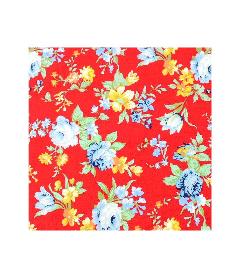 Ferrari Red Floral Pocket Square