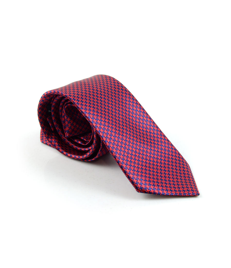 the dapper man - Red & Blue Hounds-tooth Neck Tie