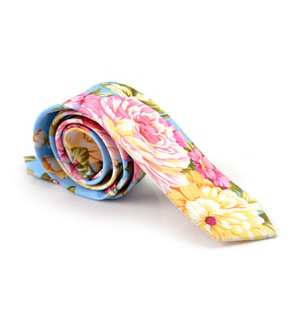 Sky Blue Floral Neck Tie - The Dapper Man