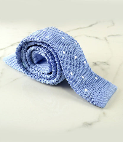 Sky Blue with White Dots Neck Tie - The Dapper Man