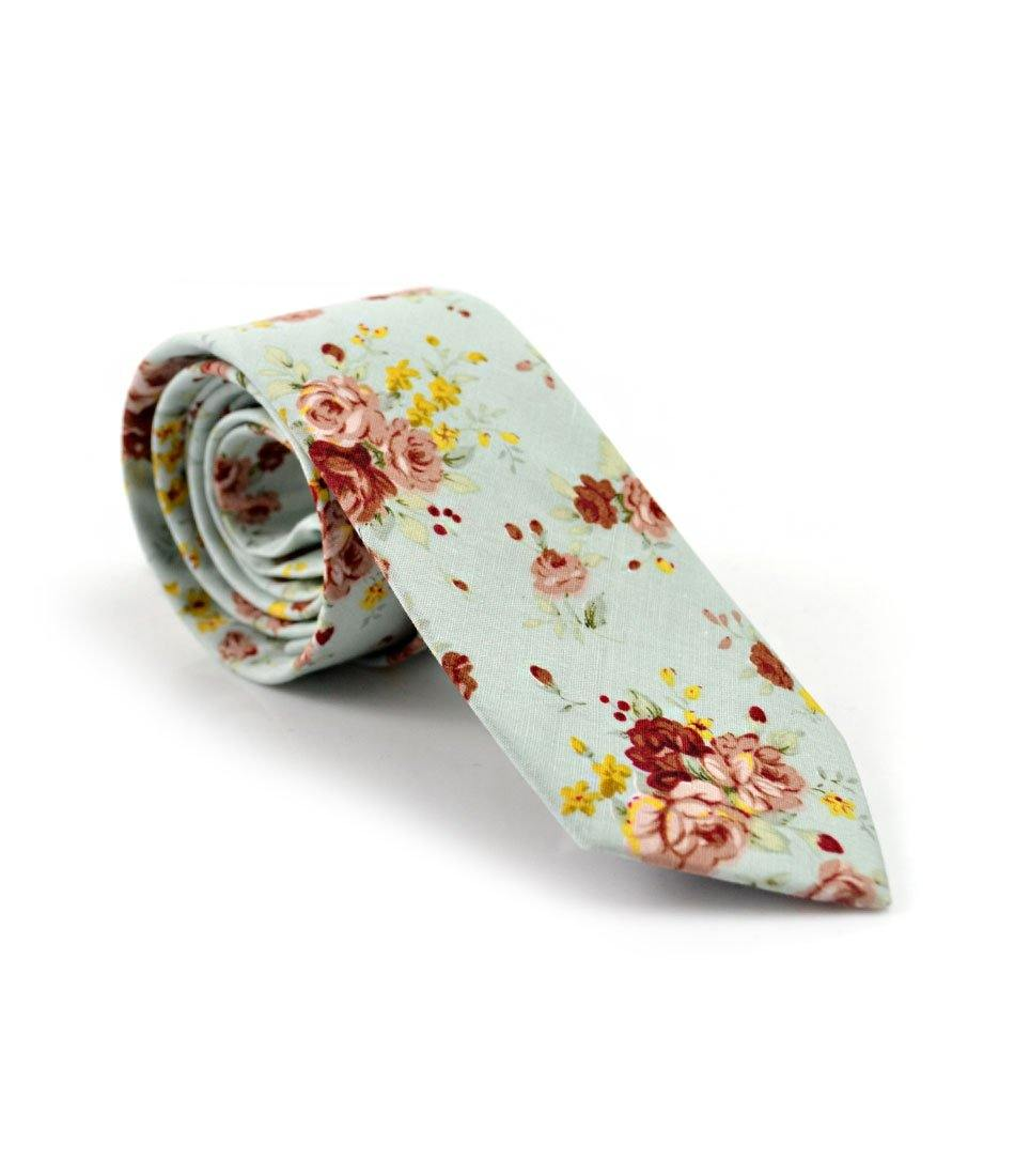 Antique Blue Floral Neck Tie - The Dapper Man