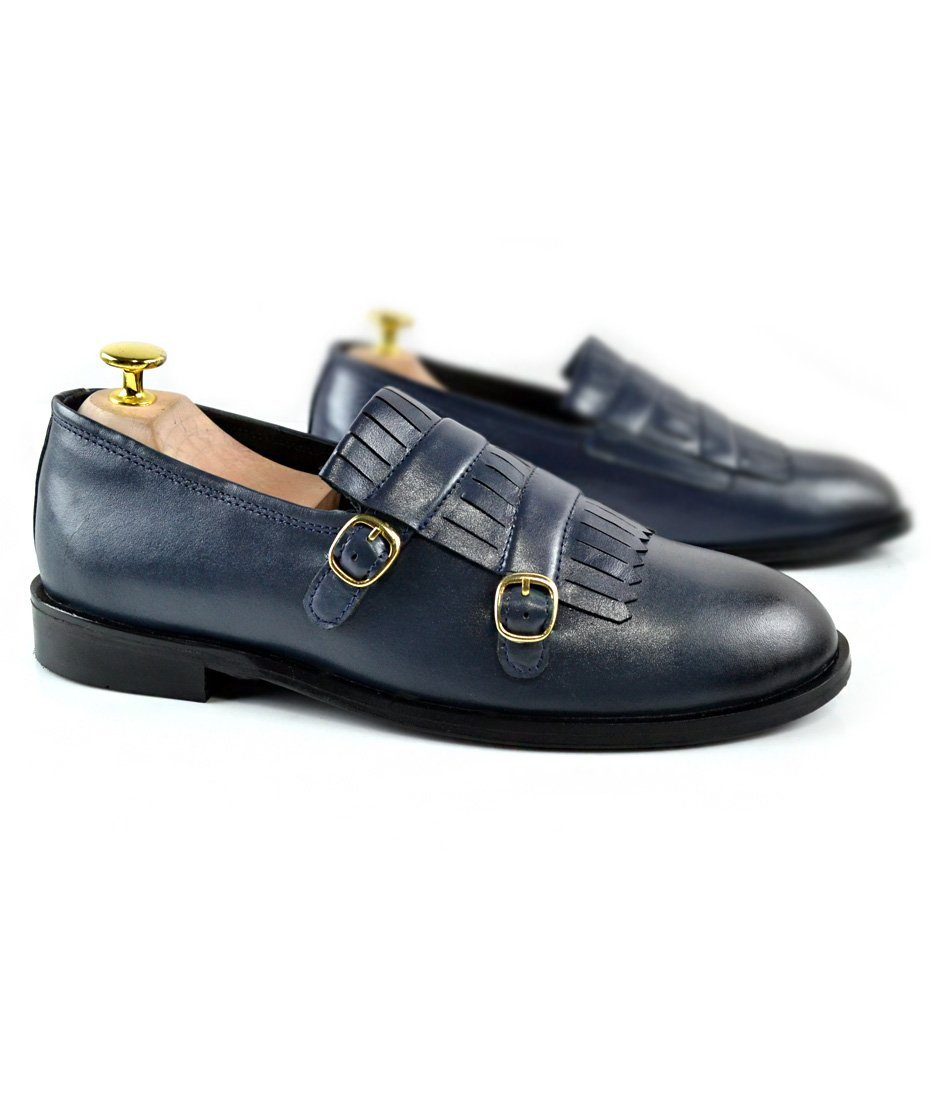 Blue Double Buckle Loafers - The Dapper Man