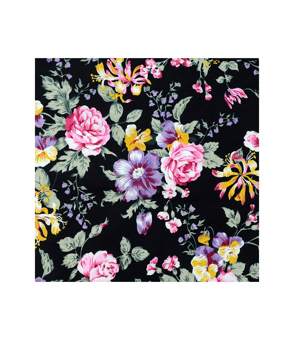 Raven Black Floral Pocket Square