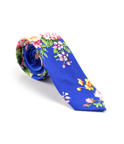 Electric Blue Floral Neck Tie - The Dapper Man