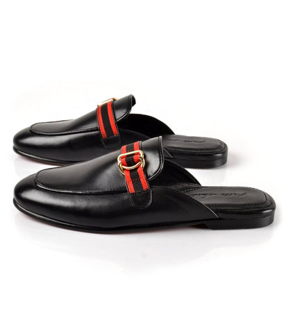 Rougé Buckle Leather Mule - Black - The Dapper Man
