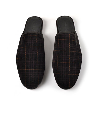 Black Tartan Plaided Velvet Mule - The Dapper Man