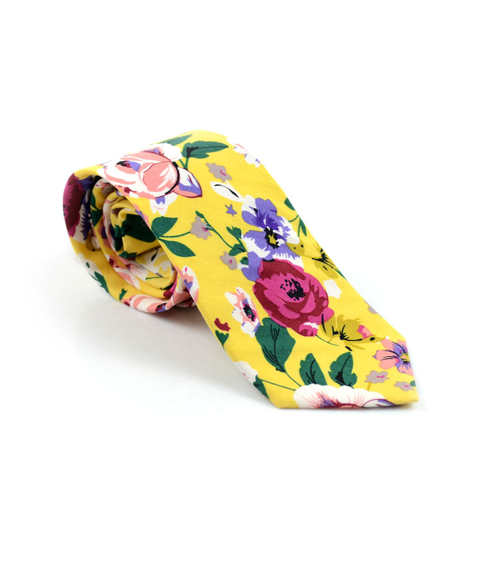 the dapper man - Tuscan Yellow Floral Neck Tie