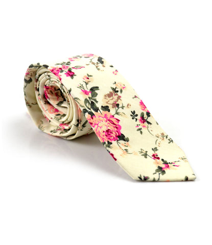 French Creme Floral Neck Tie - The Dapper Man