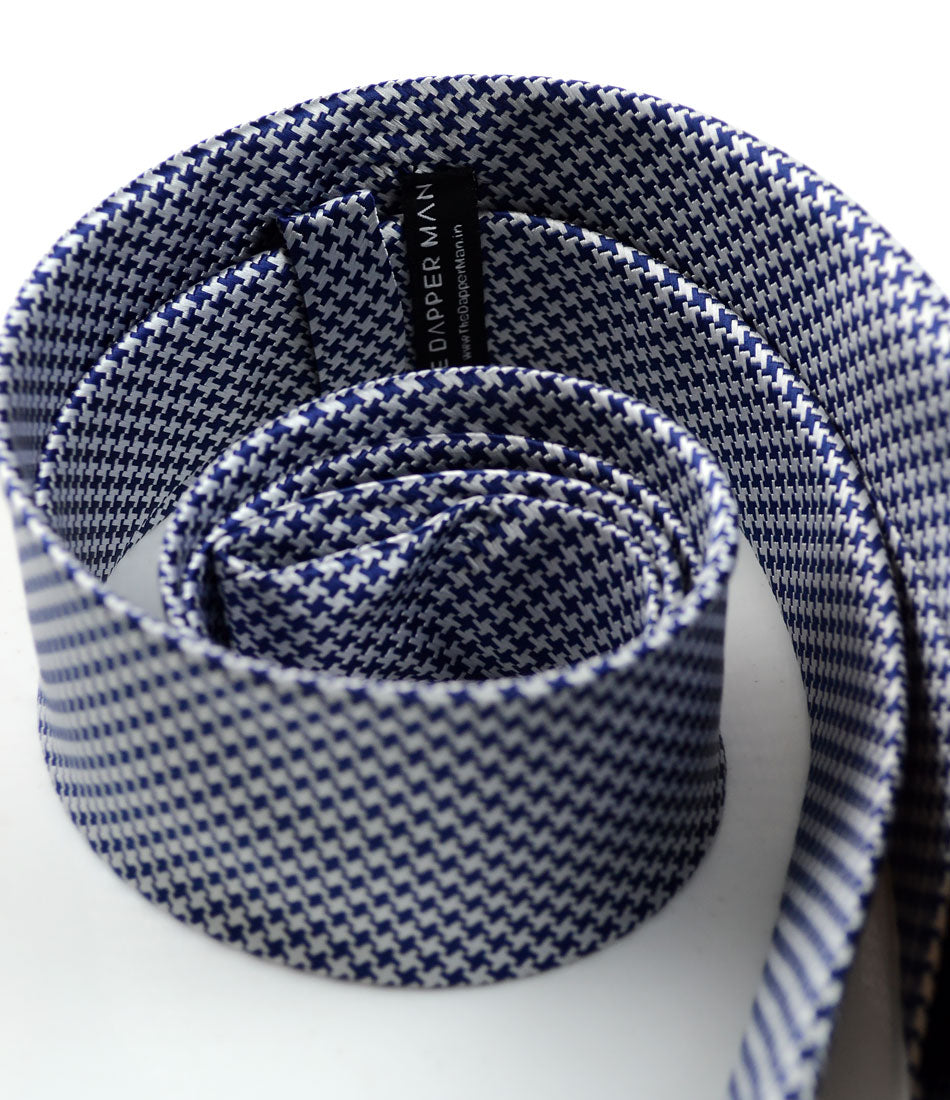 the dapper man - White & Blue Hounds-tooth Neck Tie