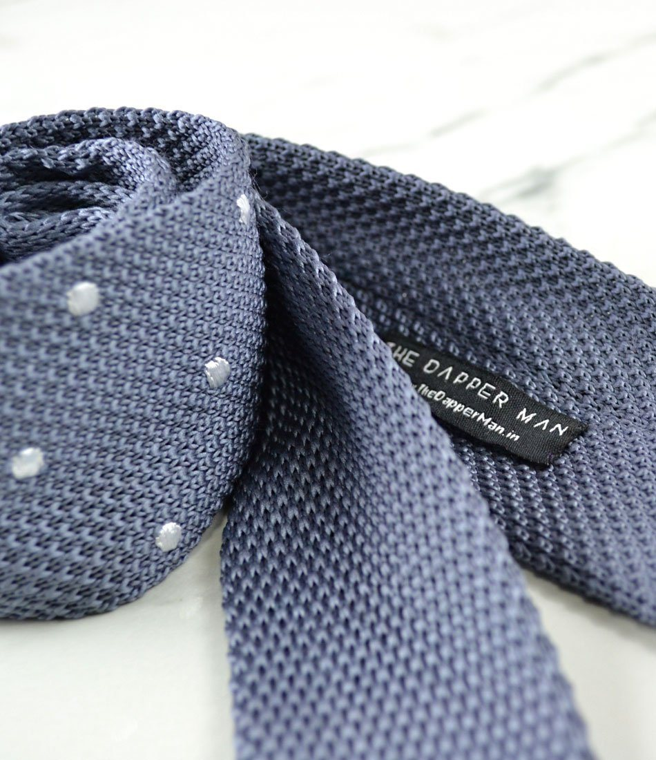 Grey with White Dots Neck Tie - The Dapper Man