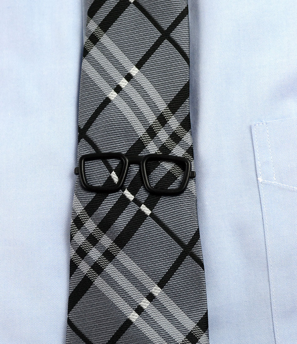 the dapper man - Black Retro Square Glasses Tie Bar