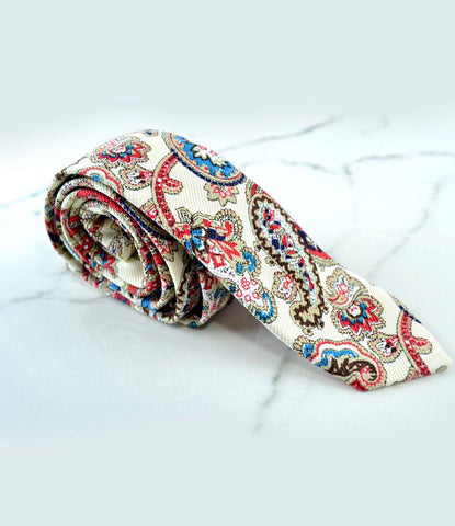 the dapper man - Cream & Red Paisley Pattern Neck Tie