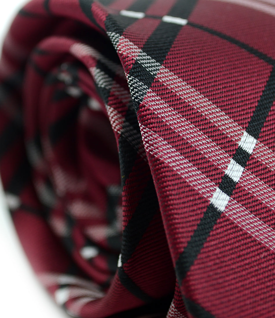 the dapper man - Maroon & Black Checks Neck Tie