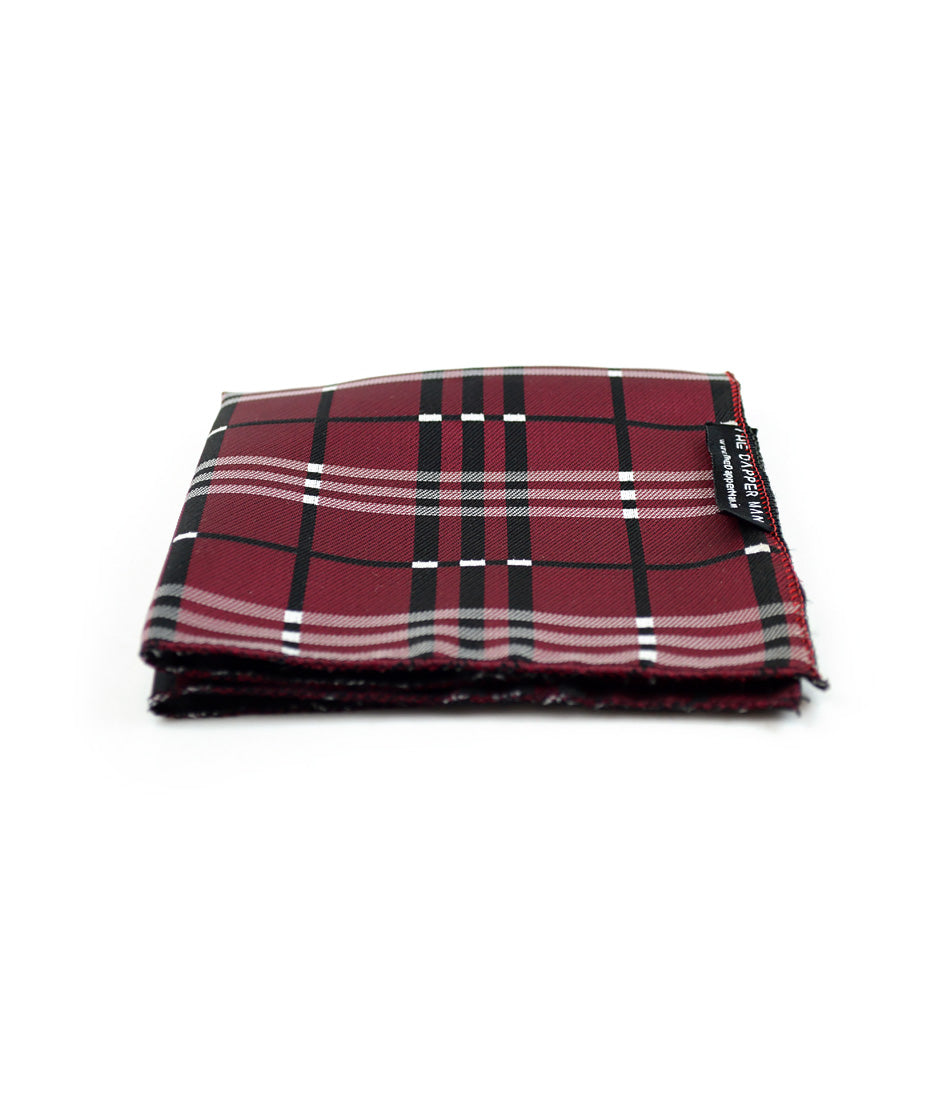 the dapper man - Maroon & Black Checks Pocket Square