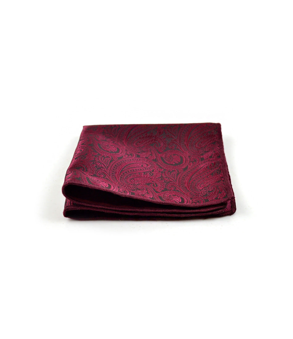 the dapper man - Deep Red & Black Paisley Pocket Square