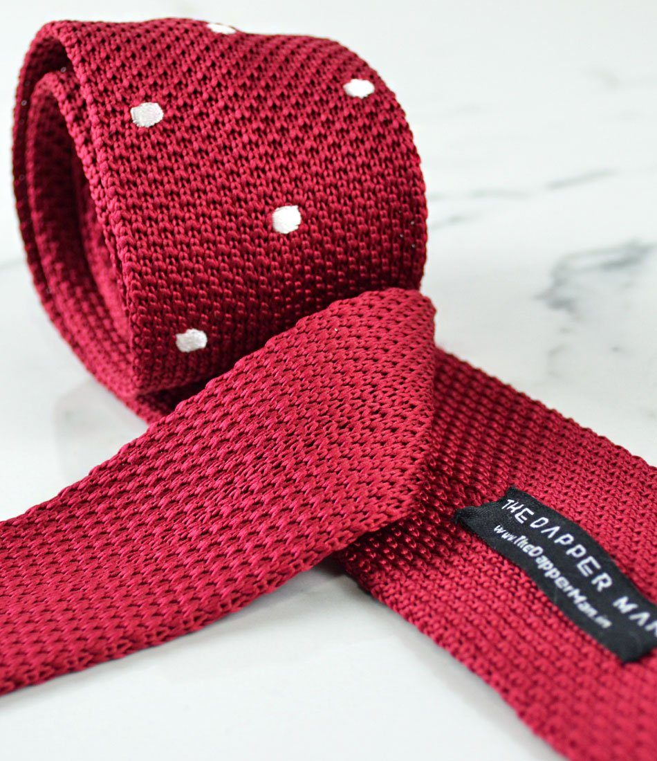 Fiery Red with White Dots Neck Tie - The Dapper Man