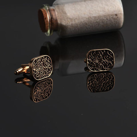 The dapper man - Antique Black & Gold Cufflinks