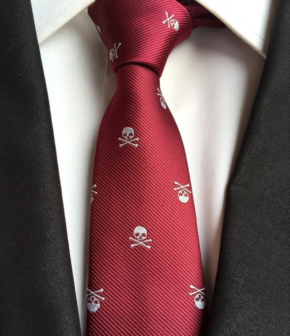 the dapper man - Maroon Skull Textured Neck Tie