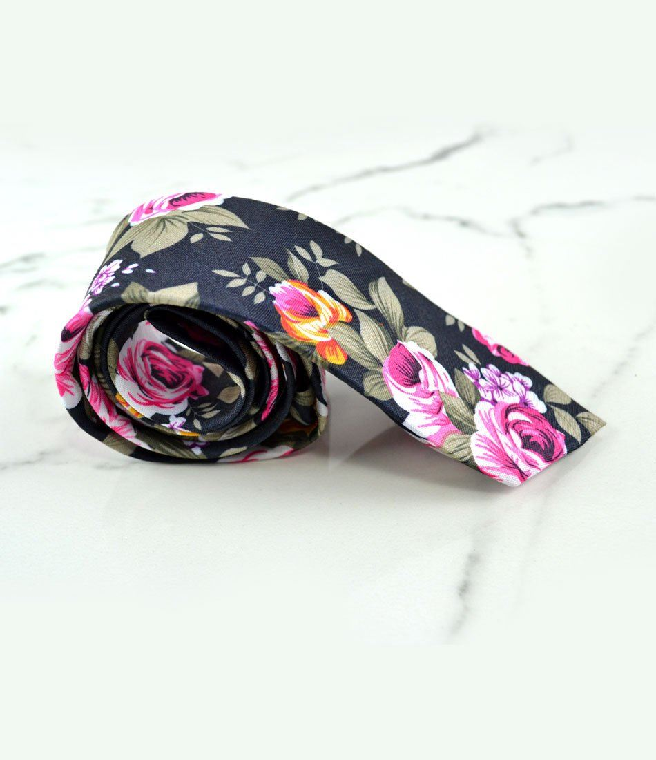 Deep Grey Floral Neck Tie - The Dapper Man