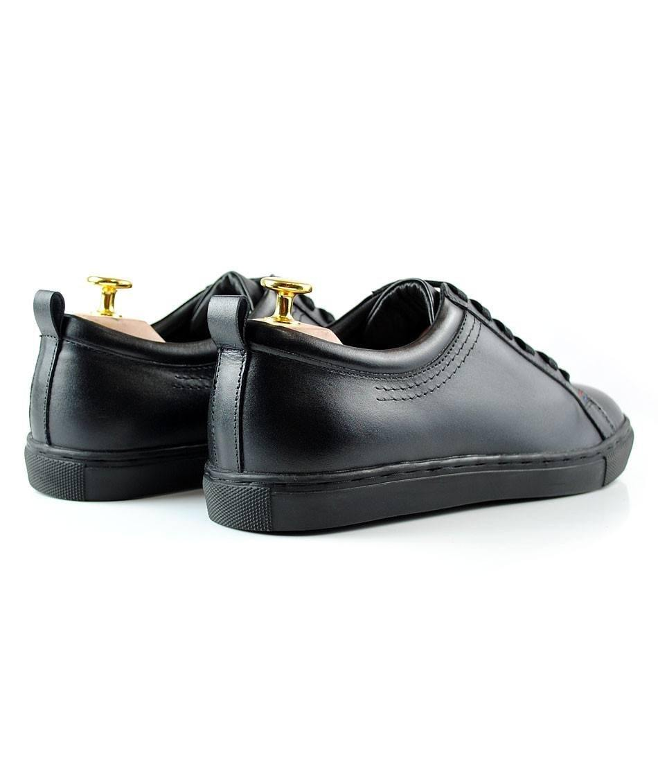 All Black Leather Low-top Sneakers - The Dapper Man