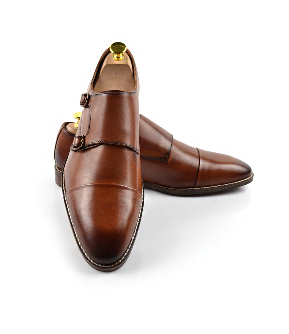 Double Monk Straps Cap toe - Brown - The Dapper Man