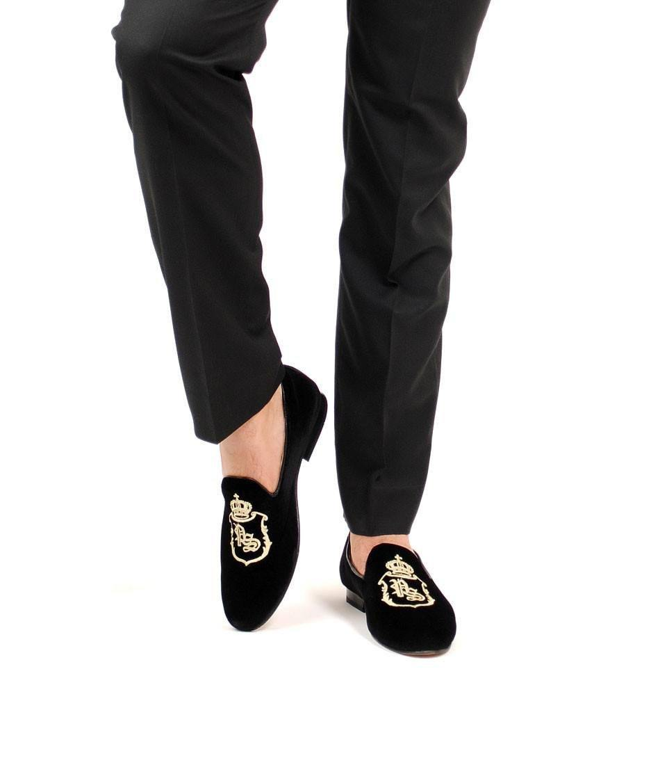 pelle santino - Black Albert Velvet Slippers with Signature Embroidery