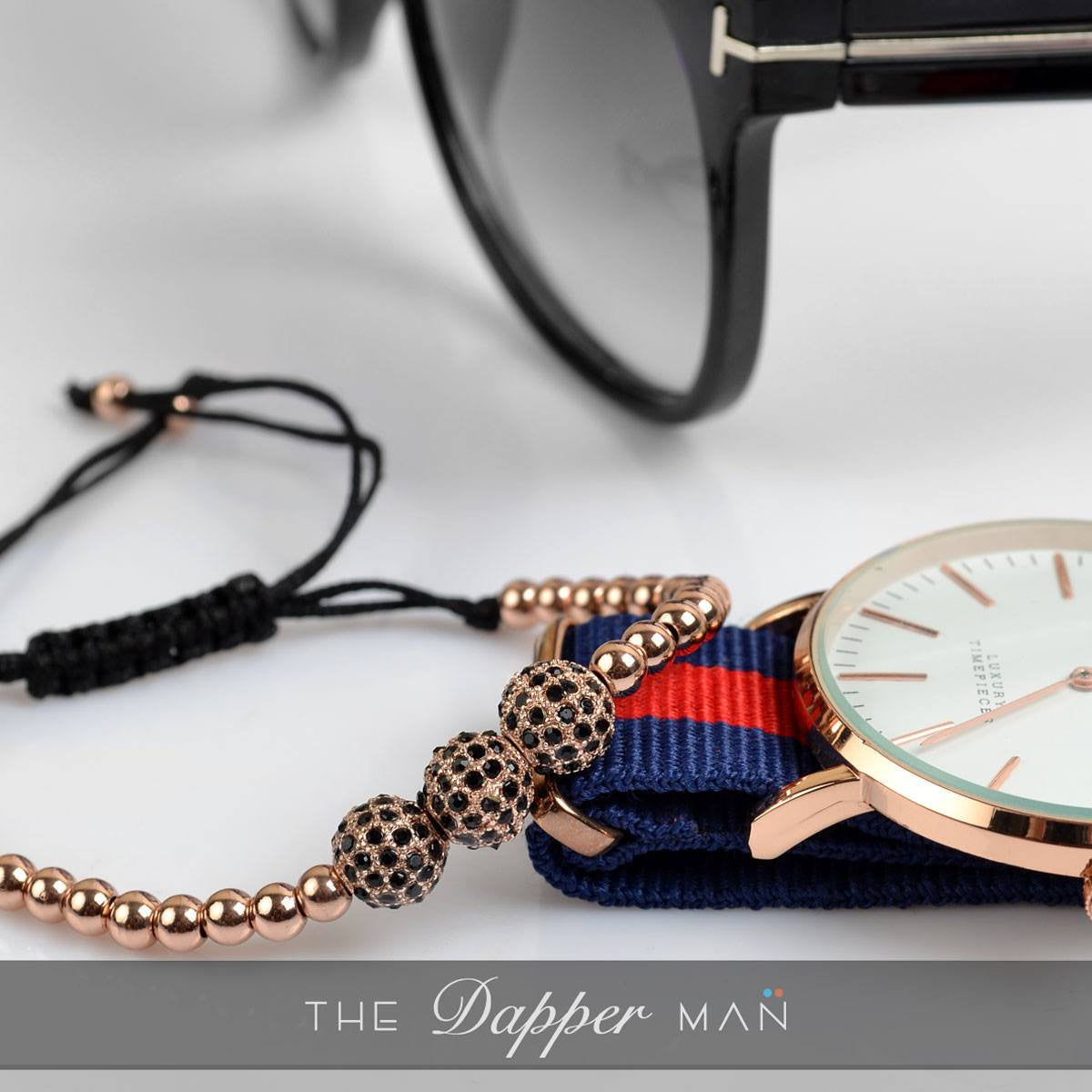 Rose Gold Trio CZ Charm Bracelet - The Dapper Man