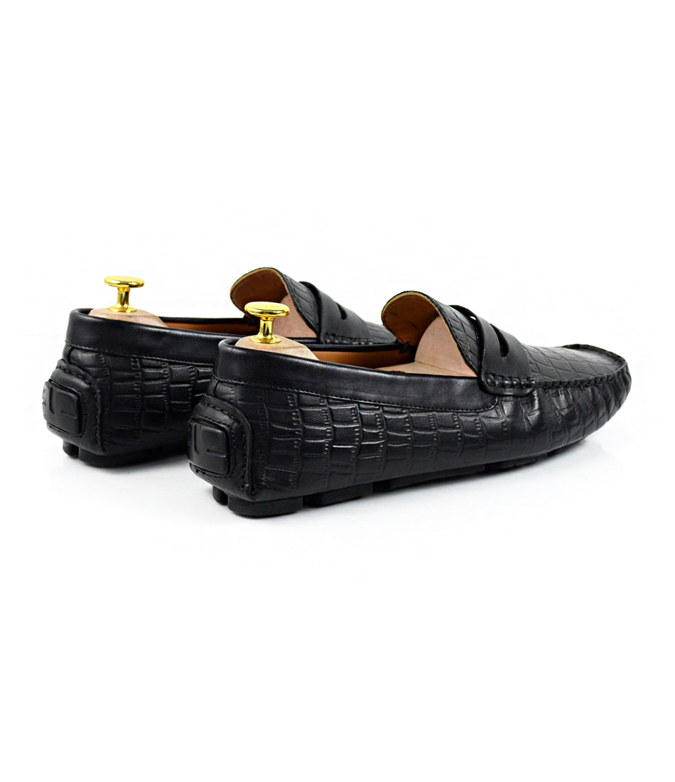 pelle santino - Croco Penny Driving Loafer - Black