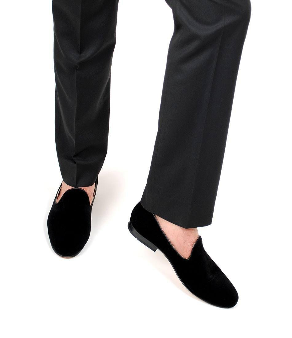 Pelle Santino - Full Black Albert Velvet Slippers