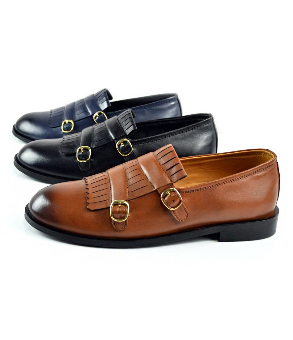 pelle santino - Tan Double Buckle Loafers