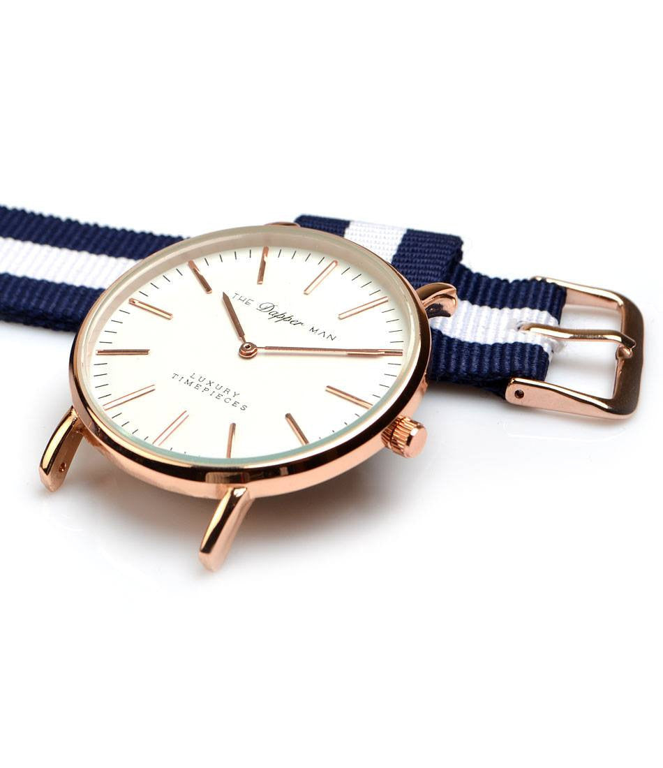 NATO Strap - Navy & White - The Dapper Man