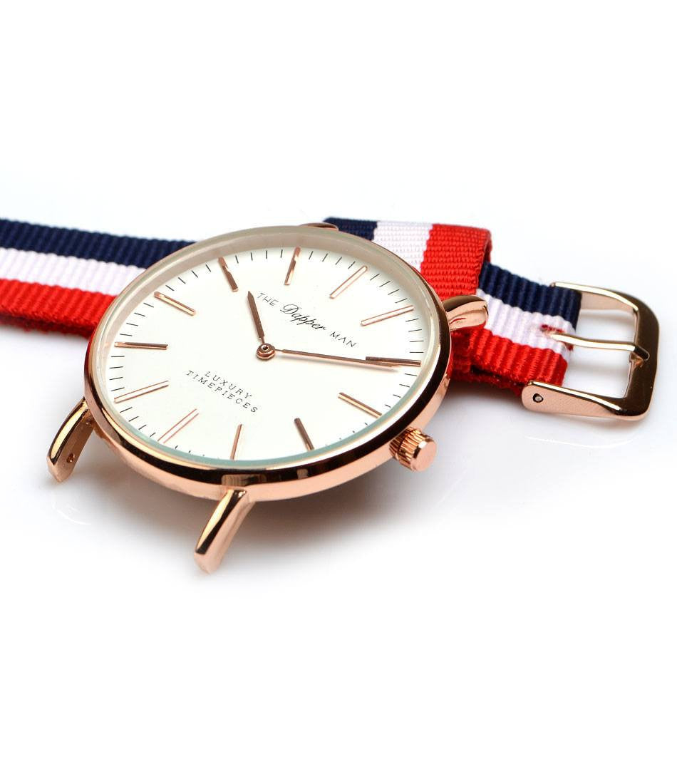 NATO Strap - Navy, White & Red (Wide) - The Dapper Man