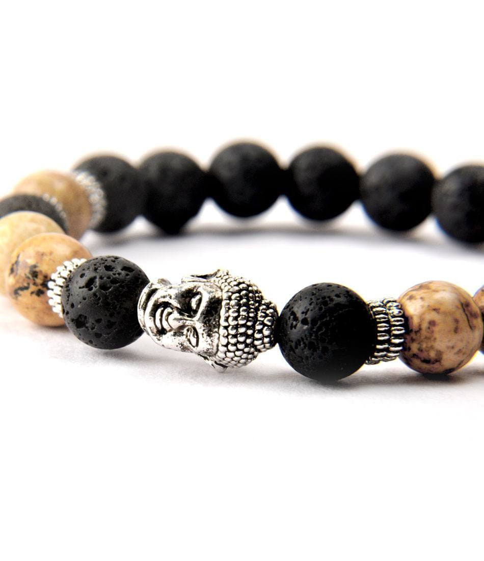 Lavastone & Brown Jasper Buddha Charm Bracelet - The Dapper Man