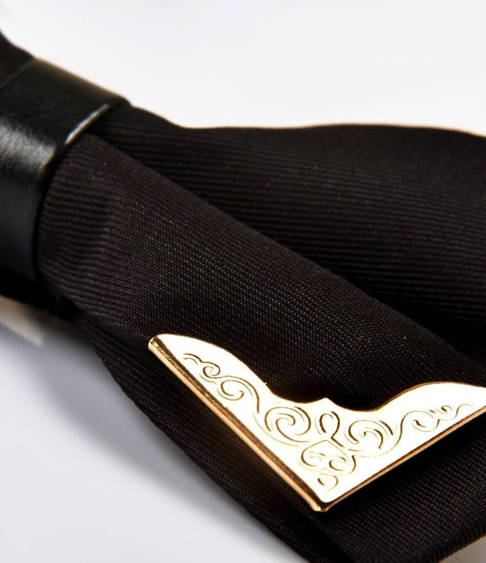 Black with Golden Edges Bow Tie - The Dapper Man