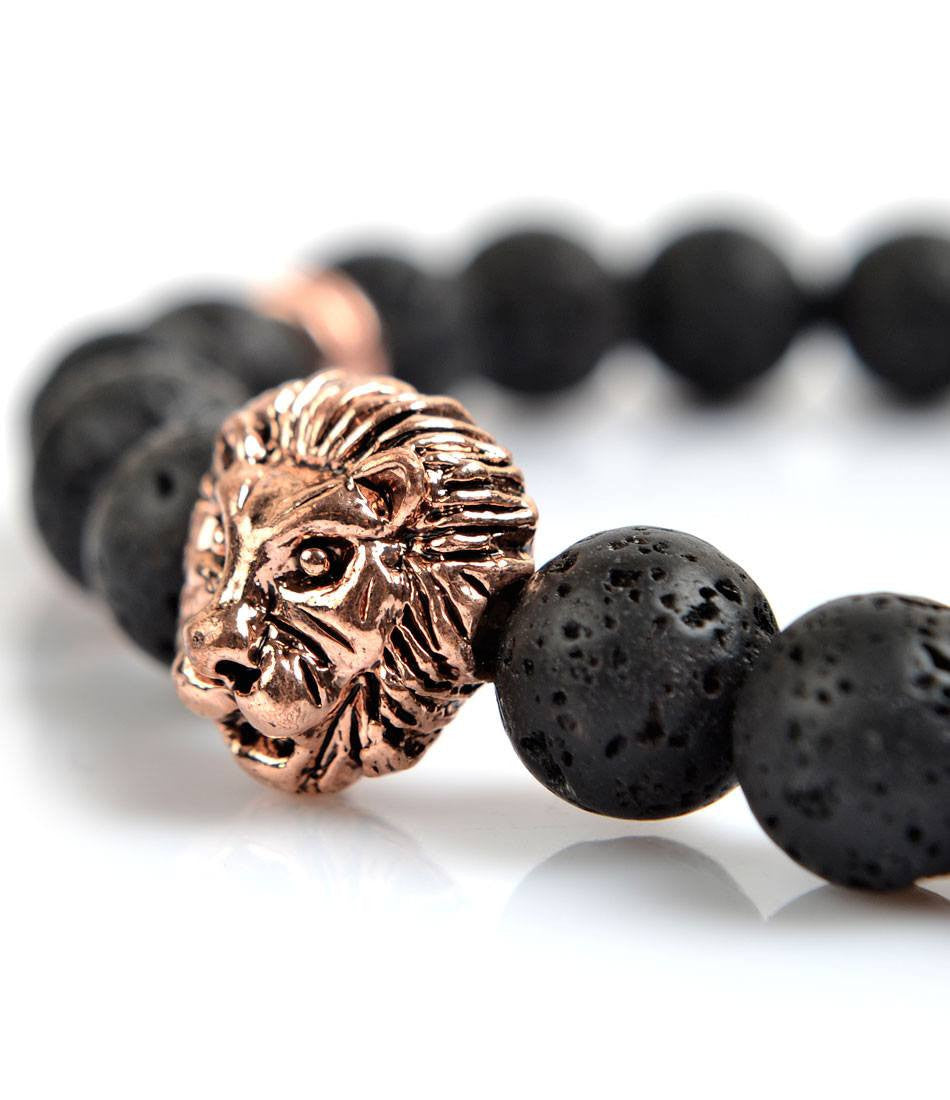 Regal Lavastone & Rose Gold Lion Charm Bracelet - The Dapper Man