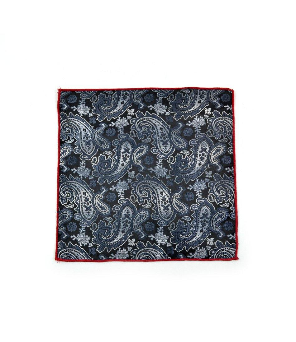 the dapper man - Black & Silver Paisley Pocket Square