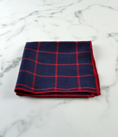 Navy & Red Pocket Square - The Dapper Man